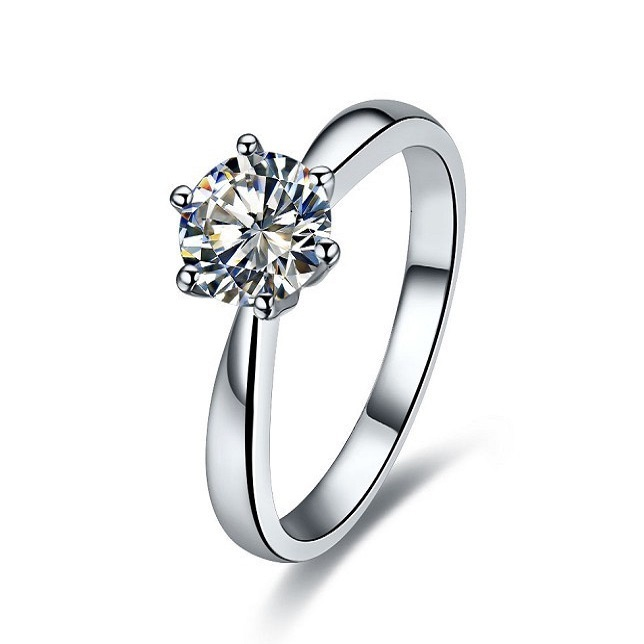 2ct 14karat White Gold South Korea Style Solitaire Excellent Synthetic Diamonds Enement Ring For Lady Fashion