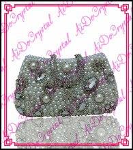 Aidocrystal handgemachte silbrig kristall bestrewed abendkupplung für damen