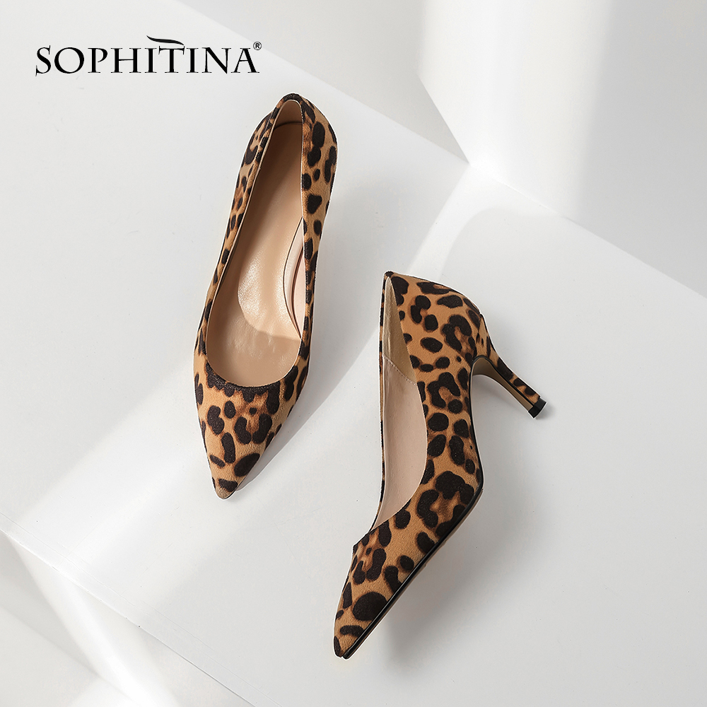 SOPHITINA New Fashion Pointed Toe Ladies Pumps New Office Slip On Shoes Basic High Thin Heel Outside Hot Sale Design Pumps MO183-in Women's Pumps from Shoes    1