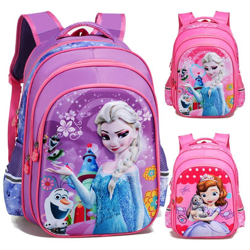 Cartoon Elsa Sophia Schoolbag For Girls Children School Bag For Teenager Girl Orthopedic Princess Backpack Mochila Infantil