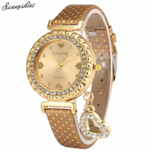 Women Fashion Watches Love Heart Bracelet Leather Diamond Quartz Wrist Watch wholesale