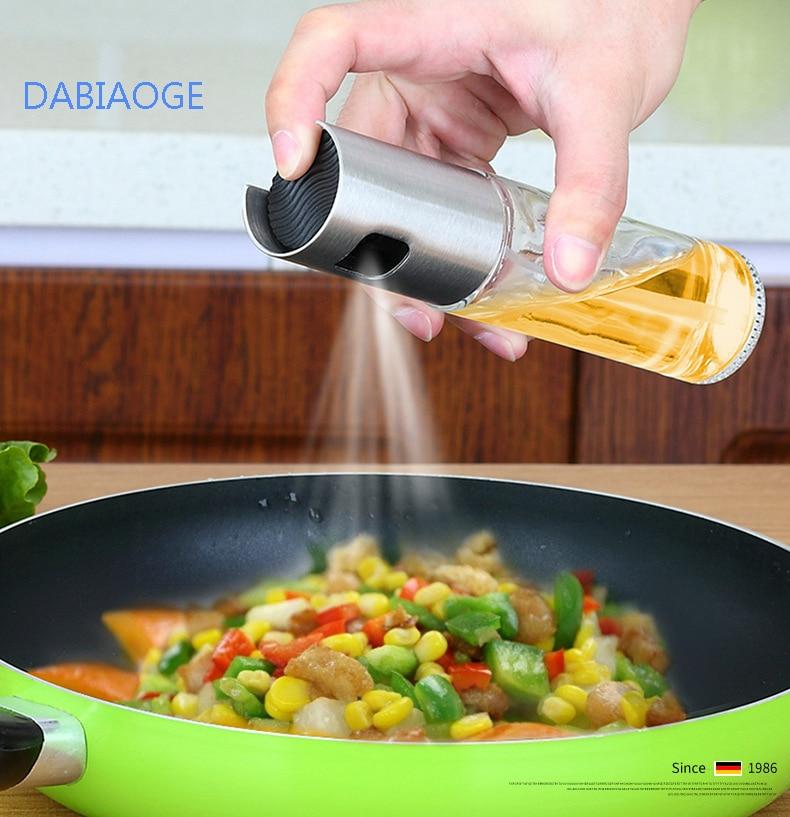 DABIAOGE  Kitchen Baking Glass Olive Oil Spray Bottle Vinegar Oil Sprayer Seasoning Bottle Soy Sauce Empty Bottle For BBQ