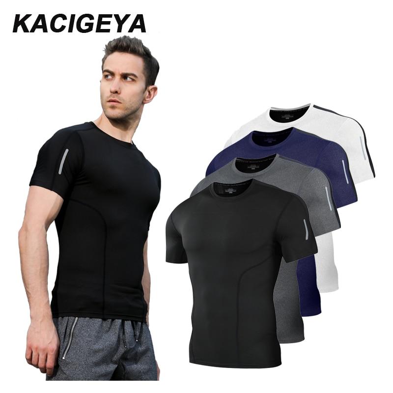 Camiseta de compresión corta de los hombres Fitness corriendo rápido seco  camiseta baloncesto fútbol hombre medias c2ec5c9317374