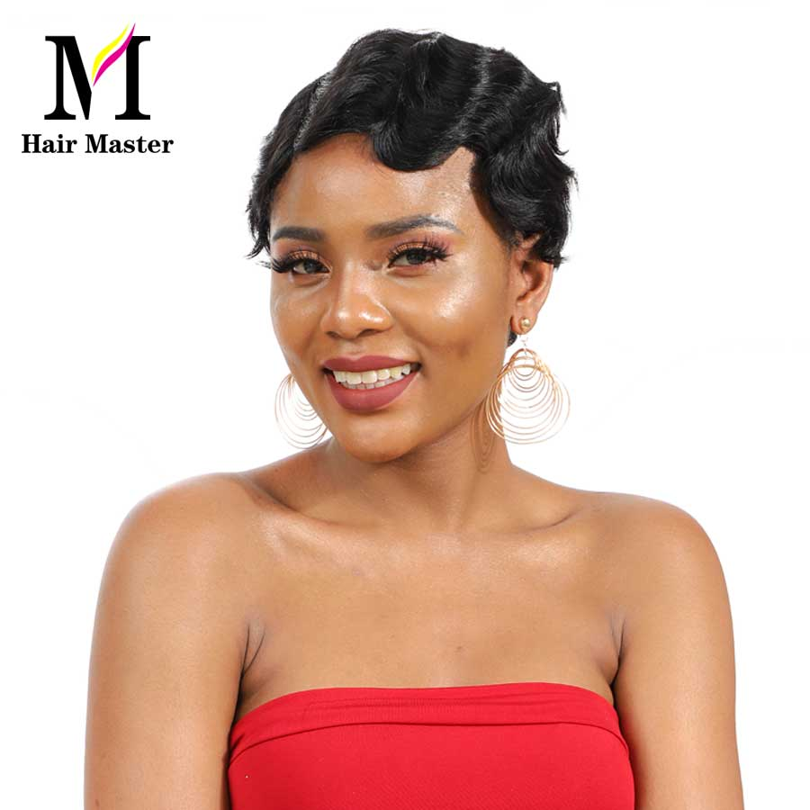 HAIR MASTER Short Finger Wave Wigs Brazilian Remy Human Hair Short Bob Wigs For Woman Machine  Glueless Wig Color 1B 4 27 30 99J