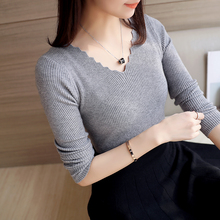 black white Autumn Winter Sweater Women solid Knitted Sweater Pullovers long sleeve tops Wave Cut V-neck Basic office 2017
