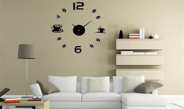 new home decoration acrylic mirror large wall clock 3d diy coffee