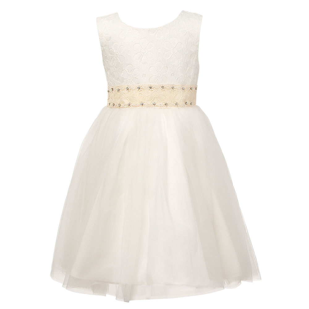 Flower     Girls     Dresses   White Sleeveless Party   Dress   with Diamantes Party   Dresses   Children Wedding Bridesmaid Ball Gown Vestido