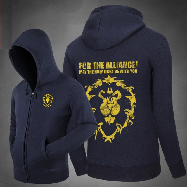 New WOW Alliance Shield Hoodies Side pockets Hoody  Sweatshirts Outerwear Unisex Cotton Zipper Coat