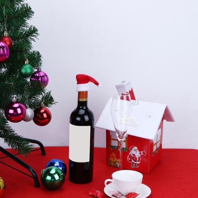 christmas gift decoration wine bottle cover christmas santa hat wine glass decoration dinner table xmas navidad
