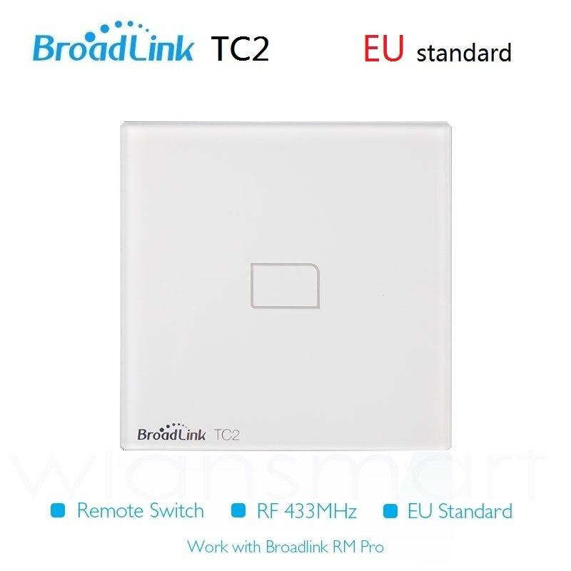 imágenes para 2016 nuevo tc2 broadlink interruptor estándar de la ue 1 gang rf casa inteligente, automatización de Teléfono Remoto wireles control de lámparas de luz de interruptor de pared