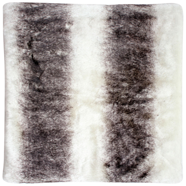 Free Shipping Faux Fur Chair Cushion / Seat Pad (Black With White)