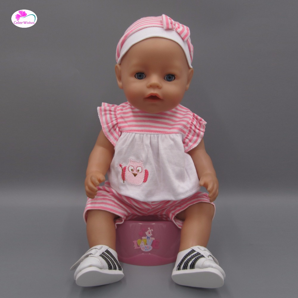 Clothes for dolls fits 43cm Baby Born zapf doll Striped T-shirt + skirt + hat 43cm zapf baby born doll cute pink princess dress with hat and underwear for 18 american girl doll clothes baby gift toy