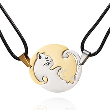 Rinhoo Couples Jewelry Necklaces Gold Silver Color Couple Necklace Titanium Steel animal cat  Valentines Day Gifts