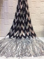 fashioned black Sequins Lace Fabric 2019 Embroidered Nigerian Net Laces Fabric Bridal High Quality French Tulle Lace Fabric