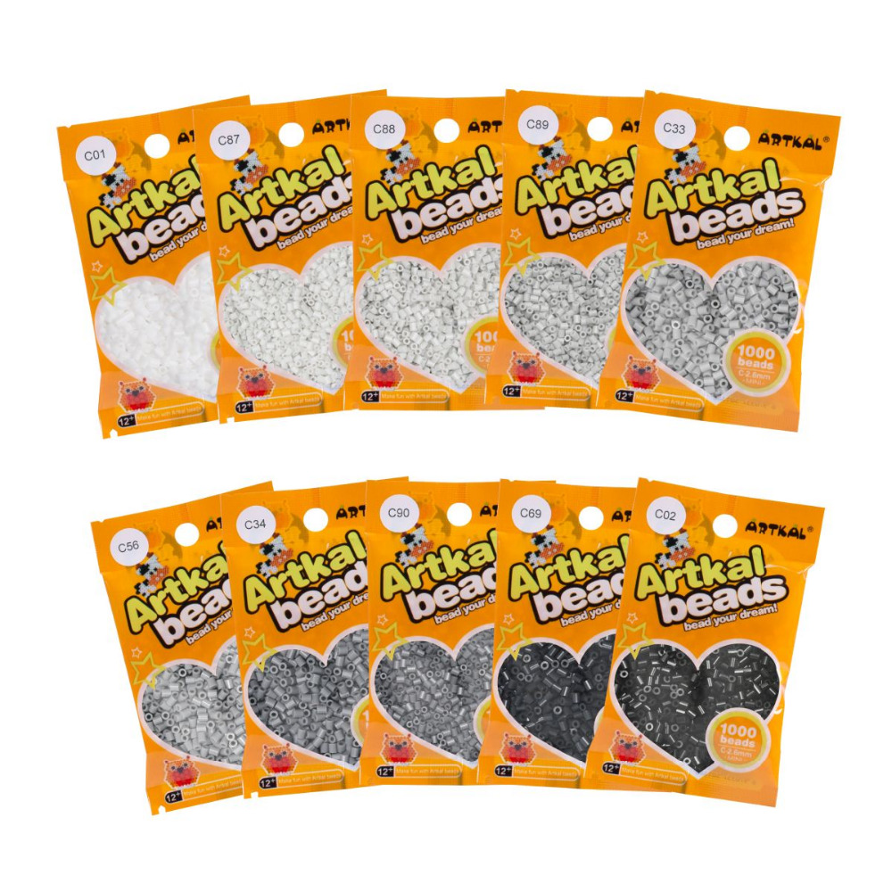 10 Bags Artkal Fuse Beads 1000 Pcs/bag Gray Colors C-2.6mm Mini Hama Beads Funny Perler