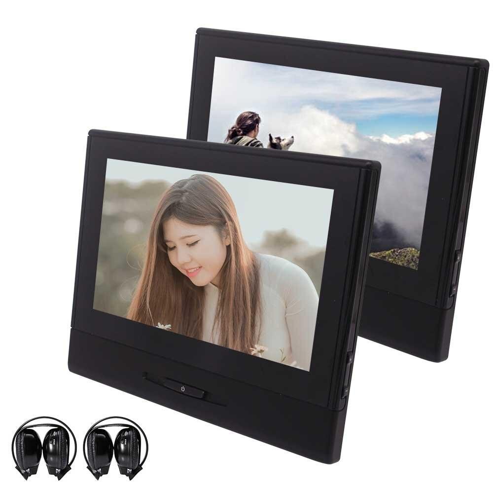 Casque IR x 2 + EinCar paire d'appuie-tête de voiture écran 8 ''HD double région lecteur DVD gratuit pour voiture Support USB SD IR transmetteur FM
