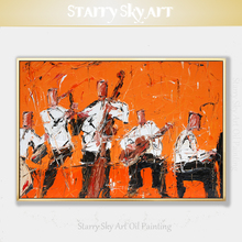 New Painting Abstract Wall Art Orchestra Figures Oil Painting on Canvas Abstract Orchestra and Musical Instrument Oil Painting