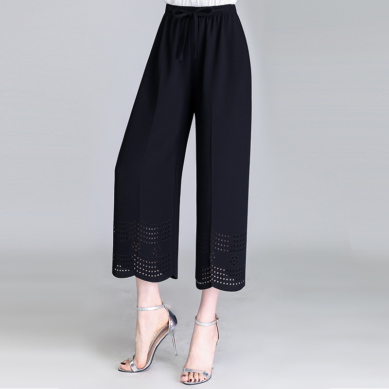 Spring Summer Solid   Wide     Leg     Pants   Loose   Pants   Hollow Out Ankle Length   Pants   Women's High Waist   Pants   Plus Size 5XL