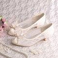 Custom Handmade Big Bow Low Heels Lace Wedding Shoes Bridal Open Toe