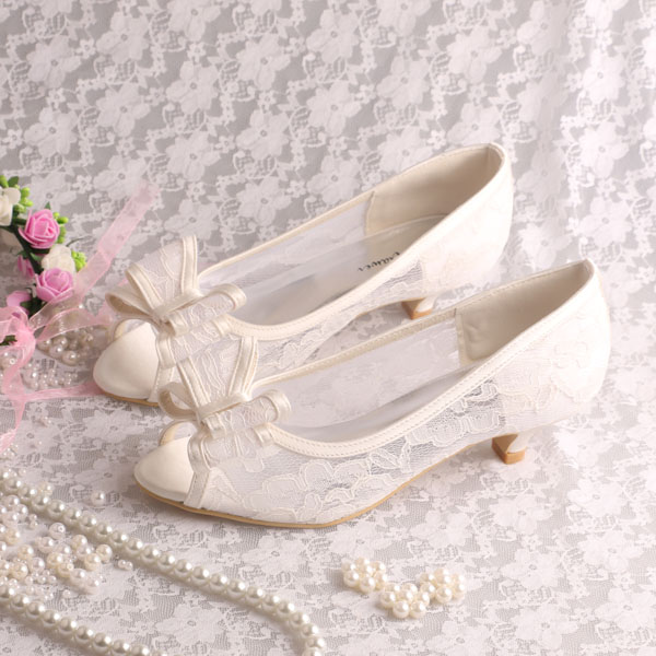 Custom Handmade Big Bow Low Heels Lace Wedding Shoes Bridal Open Toe