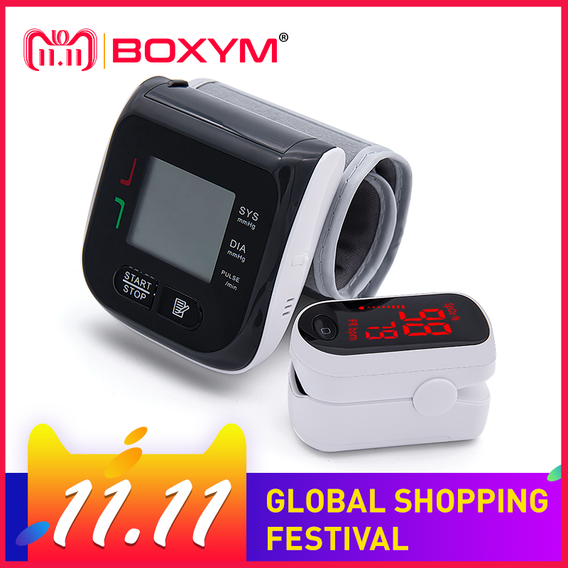 BOXYM Digital Finger Pulse Oximeter blood oxygen Heart Rate Monitor & Wrist Blood Pressure Monitor Sphygmomanometer oled pulse finger fingertip oximeter blood spo2 pr heart rate monitor