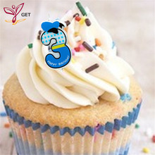 Boy Blue Number 3 Candle Cake Ages Party Kids Birthday Decorations Colorful Supplies