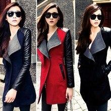 Basic Jacket Winter Warm Women Collar Coat Long PU Leather Sleeve Jacket Parka Trench leather coat outerwear