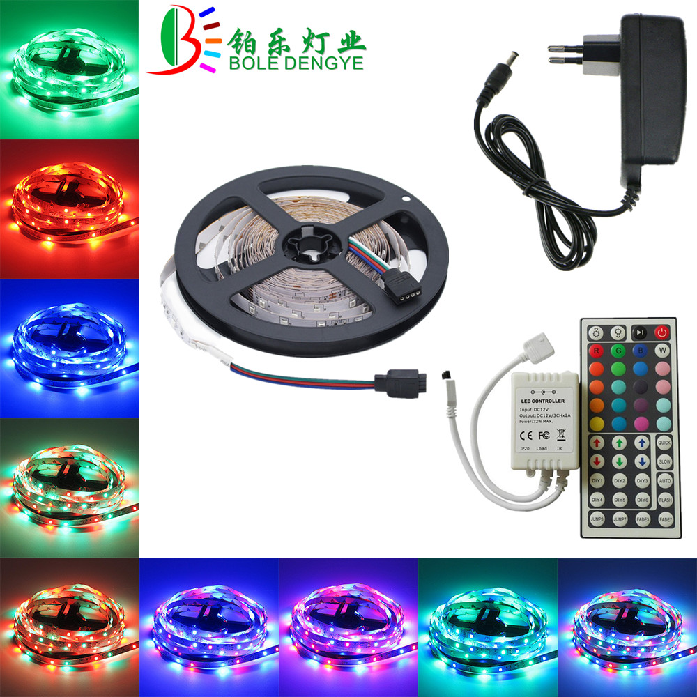LED Strip 12V 60 leds/m SMD 2835 Waterproof Flexible RGB Tape Ribbon String Multicolor Rope Light Lamp+Controller+Power Adapter