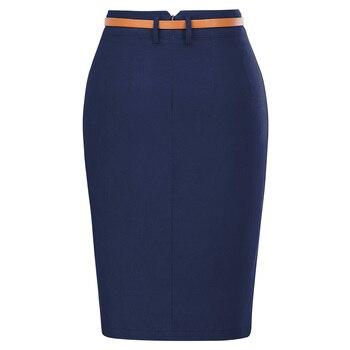 e8b461e433 Damas Slim faldas para mujer de Color sólido cinturón decorado  caderas-envuelto Bodycon lápiz falda