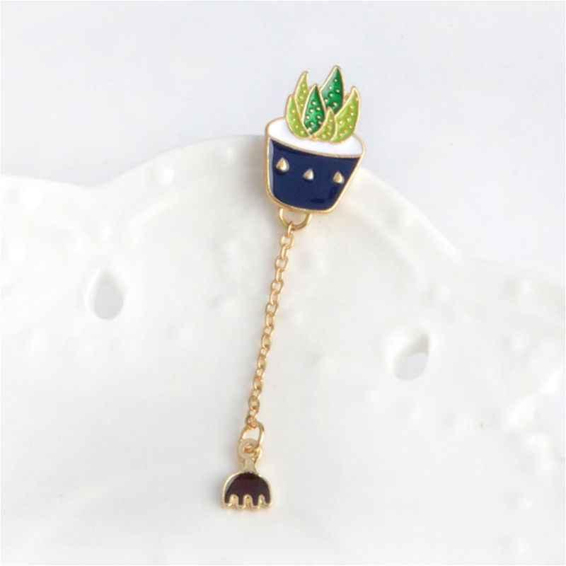 Kreatif Lencana Fashion Rantai Panjang Liontin Menjuntai Bros Perhiasan Lucu Kaktus Korsase Pakaian Dekorasi Hadiah