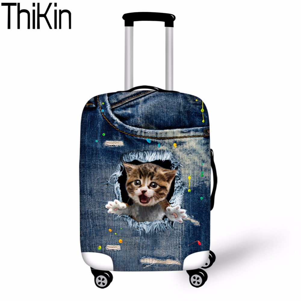 THIKIN Case Covers Denim Kitty Cat Travel Suitcase Luggage Cover For 18-30 Inch Travel Protective Coves Elastic Dustproof Covers