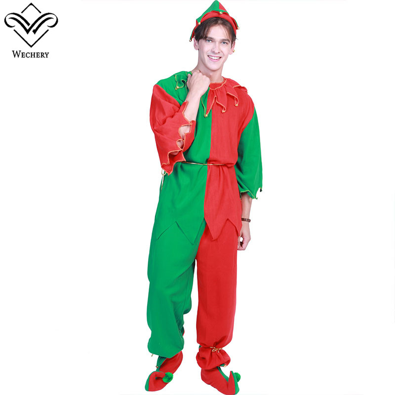 Wechery Adult Elf Costume Mens Christmas Costume Set Hat Belt Shoes Included Holiday Cosplay Plus Size