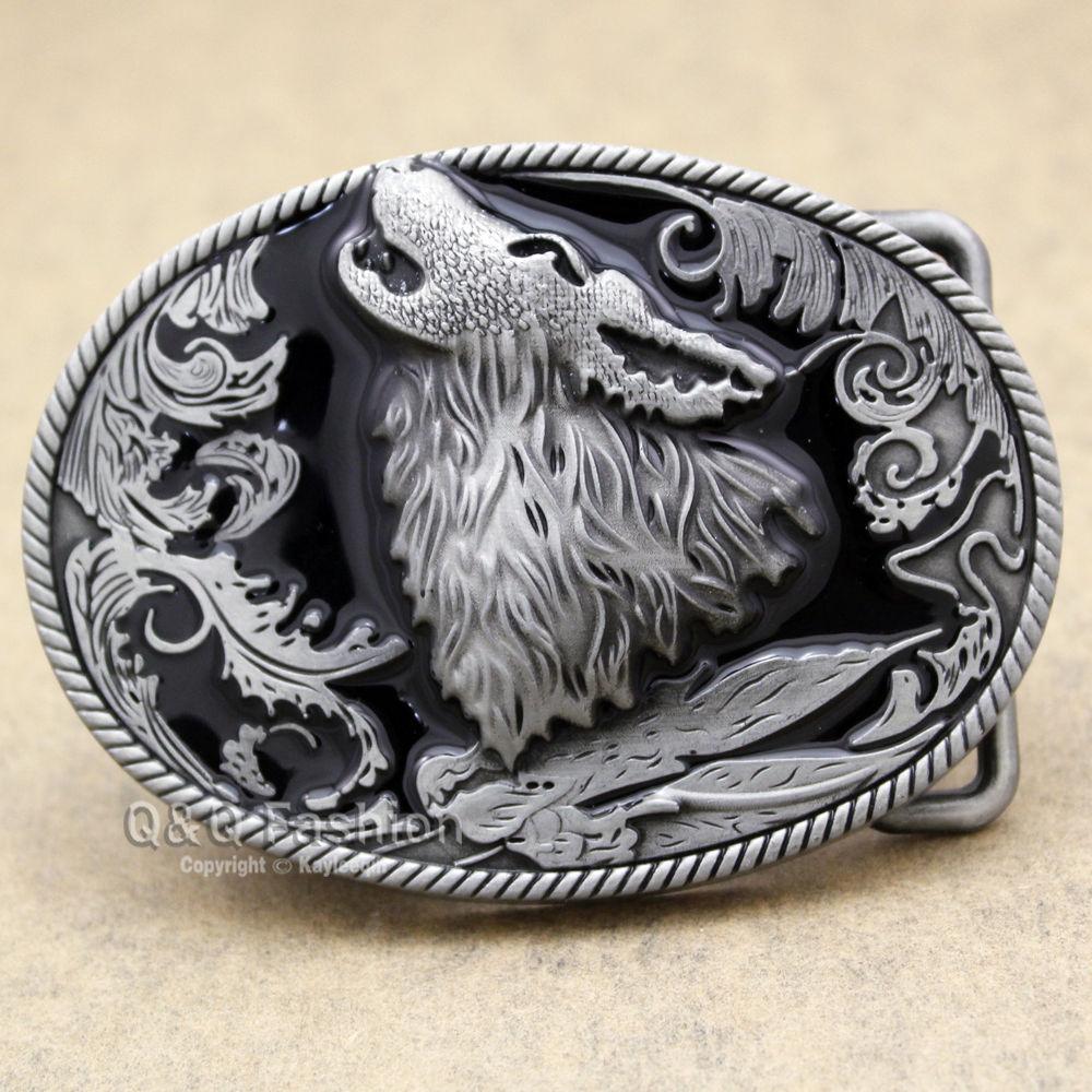 Western Vintage Silver Howling Wolf Coyote Brocade Cowboy Enamel Belt Buckle