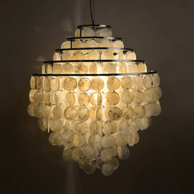 Pastoral North Euro Design Shell Made Lampshade Home Decorative Chandelier  New Cloud Shape Dinner Light Wedding