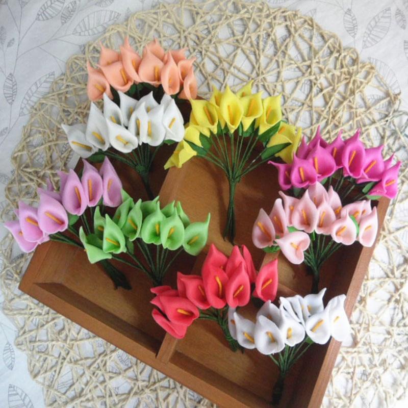 Fake flower artificial flowers wedding decoration PE calla lily Mini artificial calla flower Flower arrangement 72pcs AQ201 in Artificial Dried Flowers from Home Garden