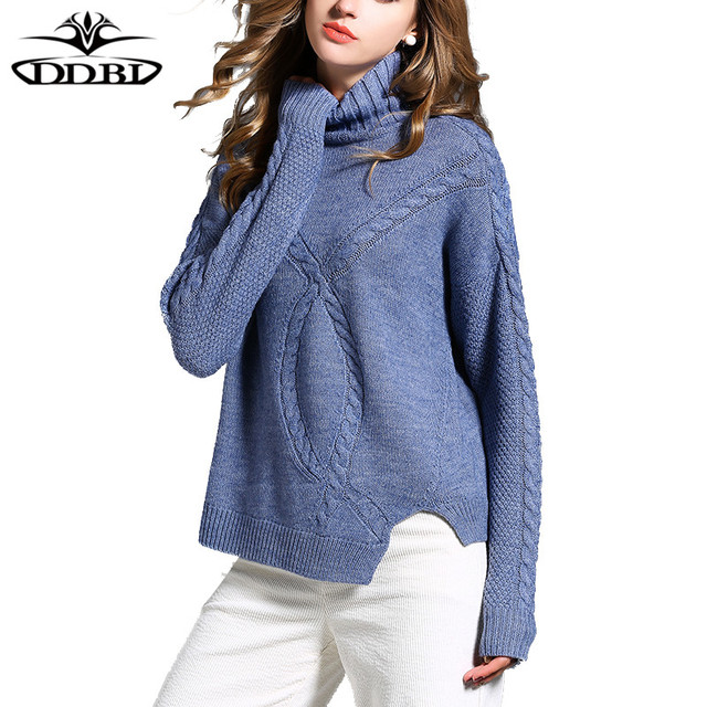 turtleneck pullover sweater light blue 2017 winter women's high ...