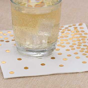 Gold Dot Cocktail Napkins (50 Pack)3-Ply Paper Napkins with Gold Foil Polka Dots Perfect for Birthday Party, Baby Shower, Brid