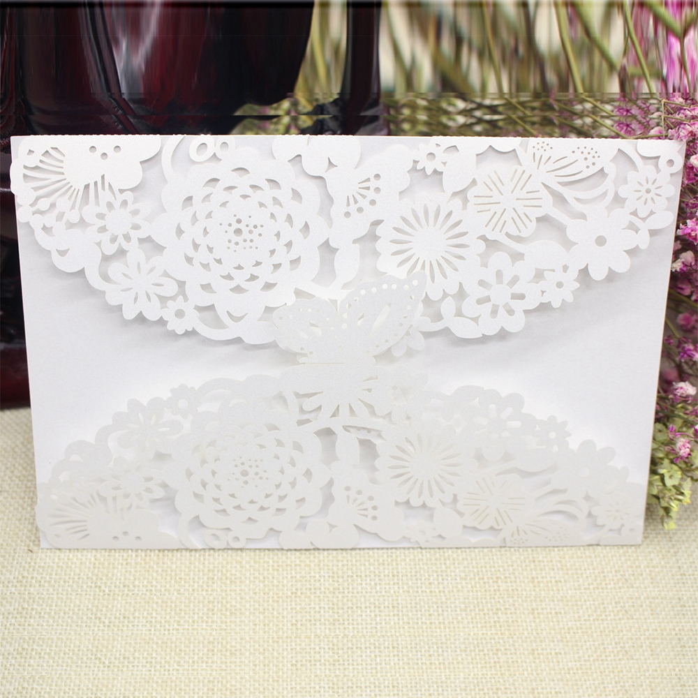 China Vintage Laser Cut Wedding Invitations White Party Elegant ...