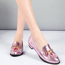 Size3-10.5 Lady Office Shoes Women Patent Leather Flats Heel Mary Janes Round Toe Tassels Loafers Wedding Party Chain Chic Shoes lin king mary janes women flats shoes sweet patent leather princess shoes student lolita shoes round toe cosplay party shoes