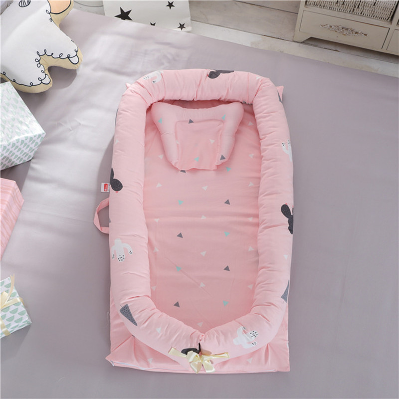 Nordic Baby Bedding Set Cotton Print Washable Bumper Mattress Baby Pillow Portable Lsolation Bed Newborn Bionic Bed Baby Bedding contrast striped print bedding set