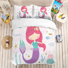 MUSOLEI 3D Duvet Cover Set mermaid girl red hair.Soft Bed Bedding Set Twin Queen King Size(China)