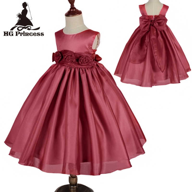 Free Shipping Formal 2 8 Years Kids Evening Gowns 2019 New Arrival Organza Girl Dress Burgundy Flower Girl Dresses For Weddings in Dresses from Mother Kids
