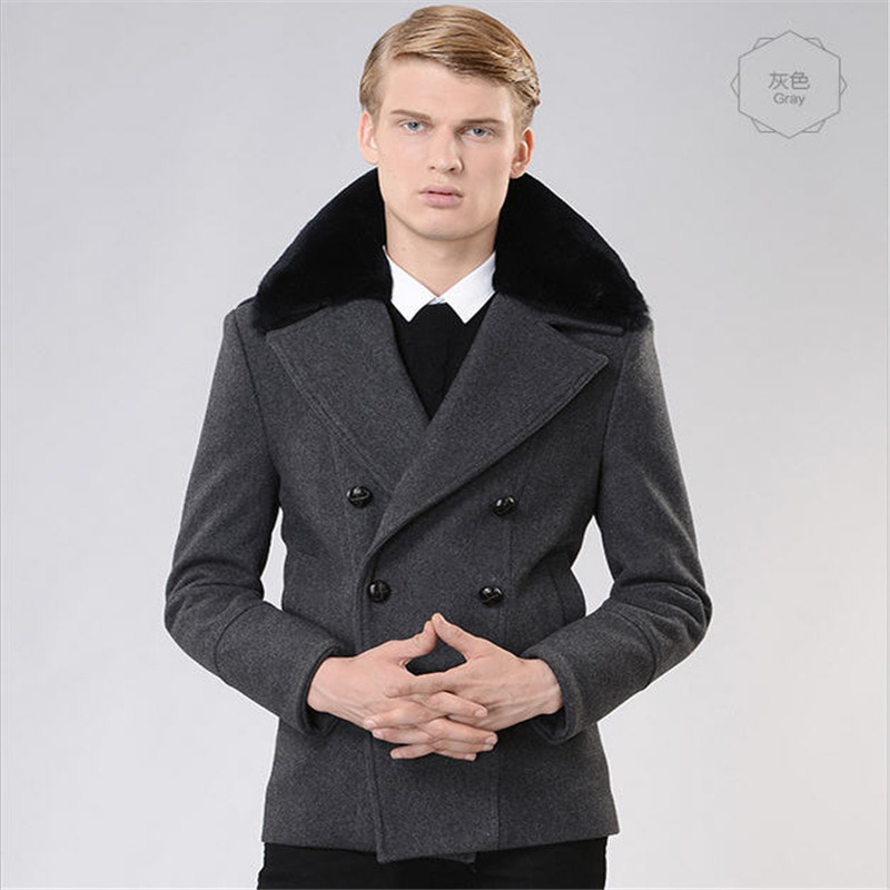 2017 Fall Winter Double Breasted Trench Coat Men Manteau Homme Fashion Mens Trenchcoat Slim Fit Overcoat Wool Coat A755