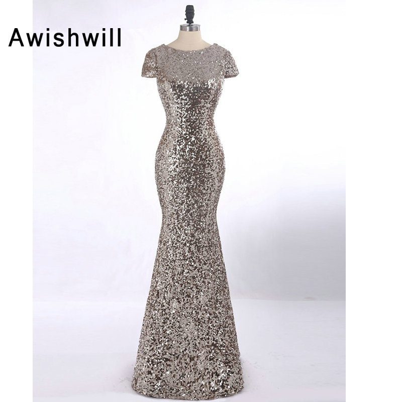 2019 Fashion Prom Dresses Mermaid Short Sleeve Floor Length Sequins Sparkle Wedding Party Dresses Women Formal Gowns