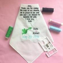 Custom Wedding Handkerchiefs for Mother of the Groom, Embroidered Hankies Groom Mother, Gift to