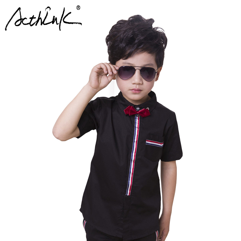 ActhInK 2019 New High Quality Big Boys Summer Striped Shirts Short Sleeve Dress Shirt Teen Wedding Clothes