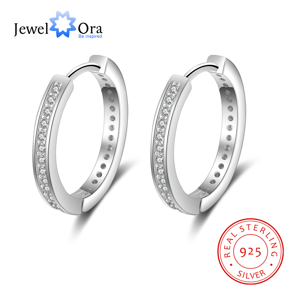 Solid 925 Sterling Silver Stud Earrings for Women Hoop Shape Earrings Cheap Wholesale Silver Jewelry(Jewelora EA102005) glitter hoop stud earrings