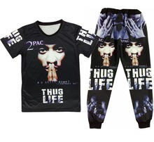 цена Rap godfather 2 pac tupac Print 3d t shirt+joggers men/woman Casual sweatpants hip hop sport suit plus size S-XXL Free shipping онлайн в 2017 году