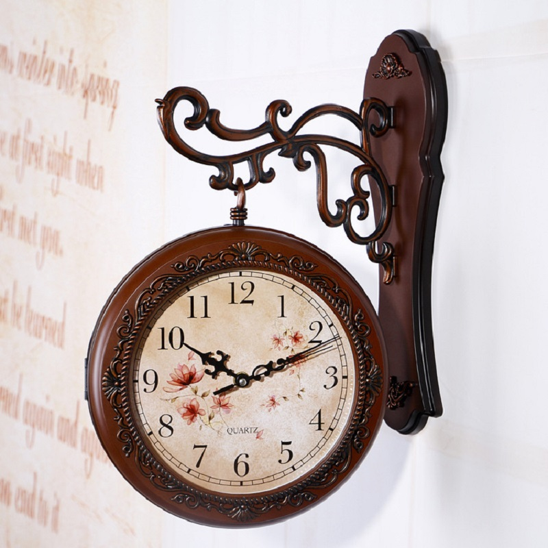 Double Sided Wall Clock Saat Vintage Digital Watch Relogio