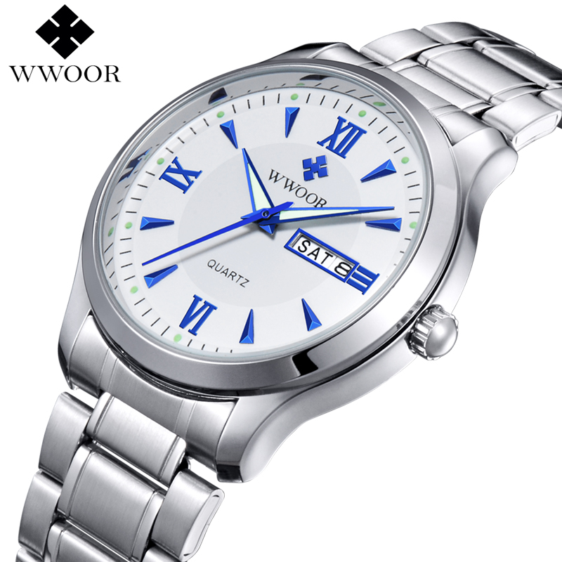 2016 Men Watches Brand Luminous Hour Day Date Clock Male Silver Stainless Steel Luxury Quartz Watch Men Casual Sport Wrist Watch 2017 luxury brand binger date genuine steel strap waterproof casual quartz watches men sports wrist watch male luminous clock
